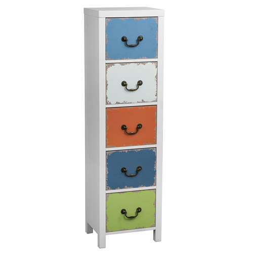 5 drawer white painted wood tallboy - Alchemy