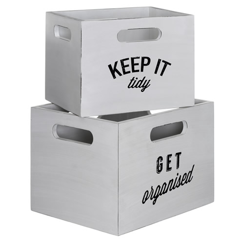Set of 2 distressed white storage boxes - Tribeca