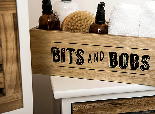 Wooden bits and bobs storage box with handles - Tribeca
