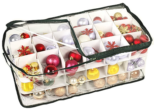 Clear Christmas decoration storage bag with bauble storage trays