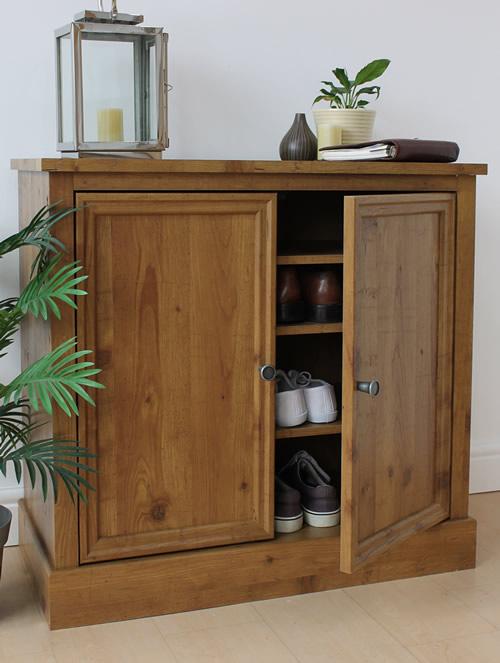 Oak foil veneer shoe storage cabinet