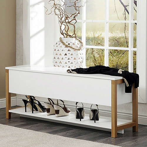Flip Top Shoe Storage Bench Oak   Northgate