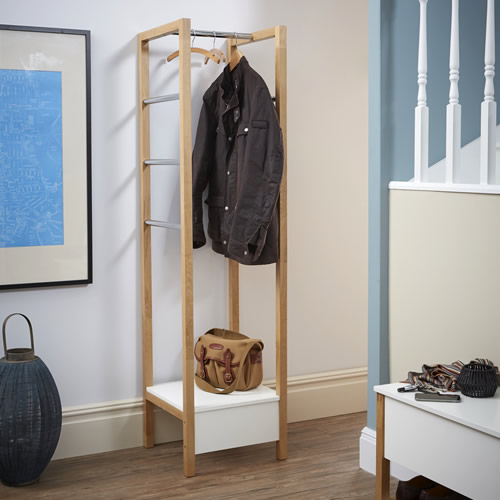 Oak and painted white coat stand / rack - Northgate