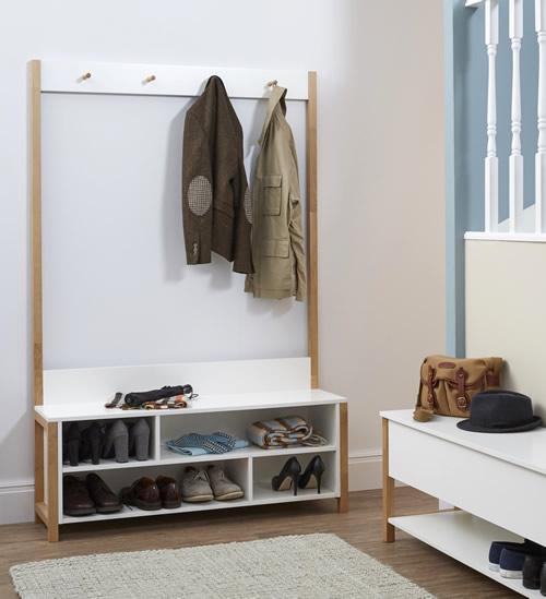 Oak and white melamine hallway storage bench and coat rack