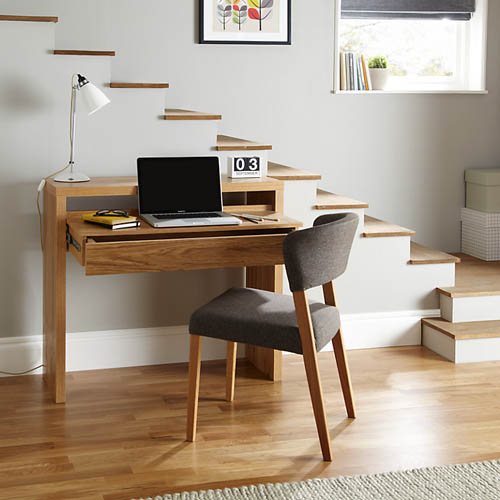 Space Saving oak console desk with storage. please note that this desk now comes with two drawers as shown below not one drawer as shown in this photo