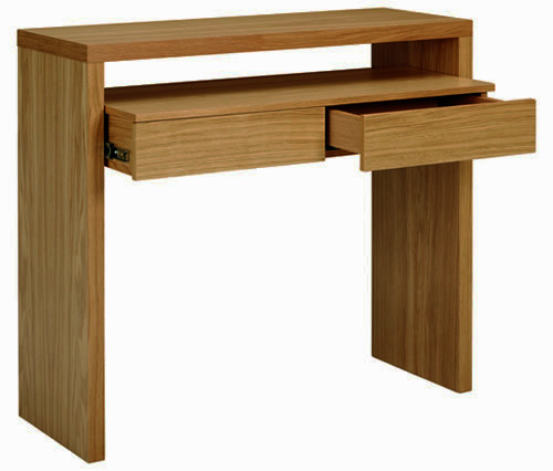 Oak console desk with storage