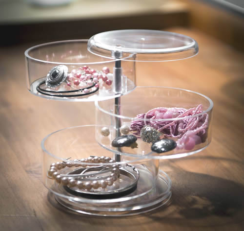 Clear plastic jewellery storage holder