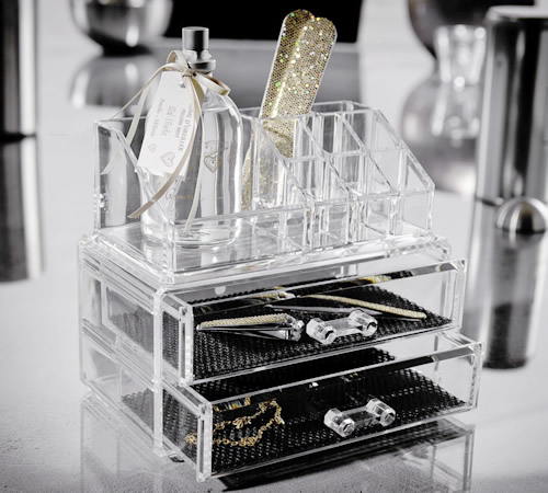 Clear plastic 2 drawer jewellery and cosmetics organiser