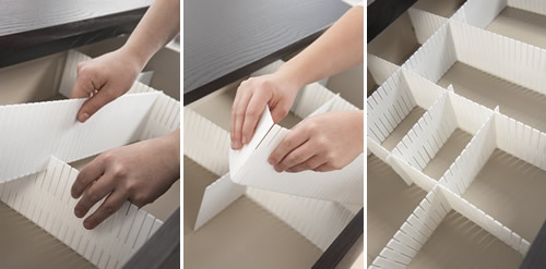 Set of 6 polystyrene drawer dividers