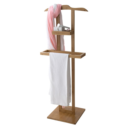Bamboo clothes stand with storage compartment