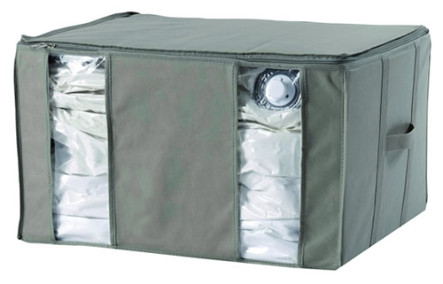 Taupe coloured 165 litre capacity vacuum storage bag
