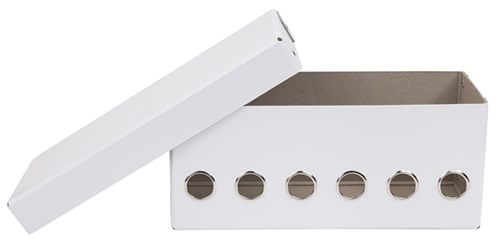 White fibreboard ribbon dispenser storage box