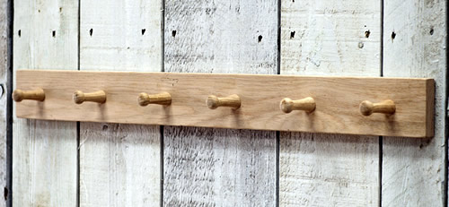 Raw oak 6 peg storage hook rack - Hambledon