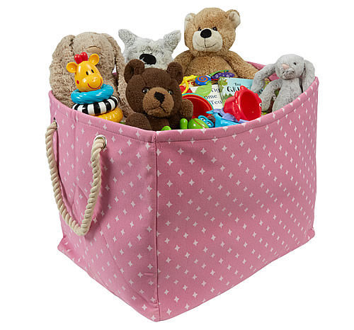 Large fabric toy storage bag with rope handles