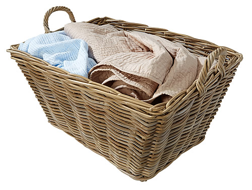 Large wicker storage basket with handles