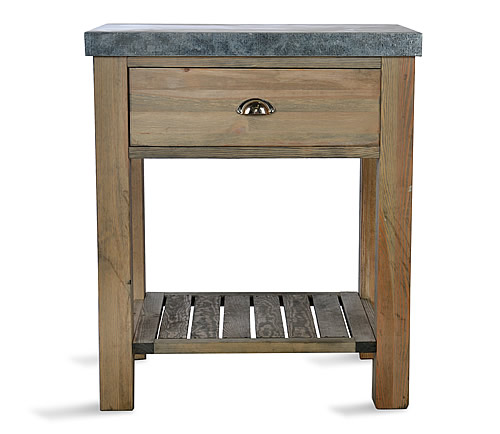 Spruce wood and zinc butchers block - Aldsworth