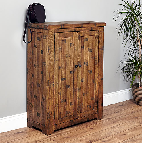Rough Sawn Oak Shoe Cupboard - Heyford