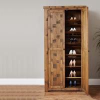 Large Rough Sawn Oak Shoe Cupboard - Heyford