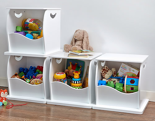 Stacking toy storage cube made from white painted wood