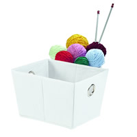 Foldable Open Storage Basket - White