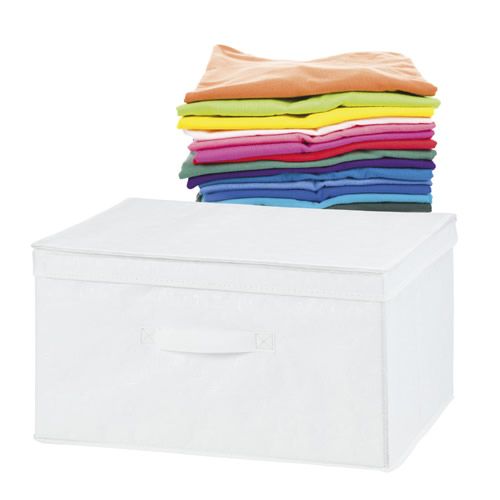 White Non Woven Fabric Storage Box With Lid