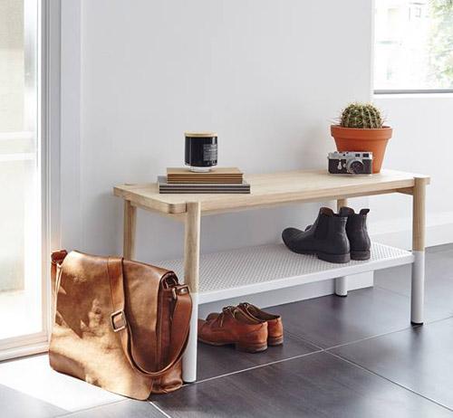 Ashwood and white metal shoe storage bench - Promenade
