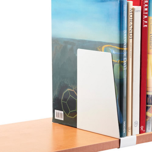 Elfa book support for melamine shelf
