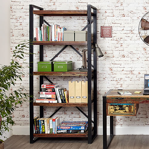 Reclaimed wood large bookcase shelving unit - Urban Chic