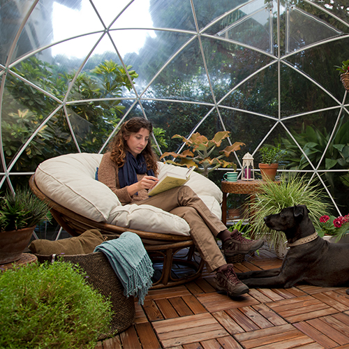 Garden Igloo 360 outdoor geodesic garden room. Makes for a great storage area for your garden furniture or how about a geodesic greenhouse