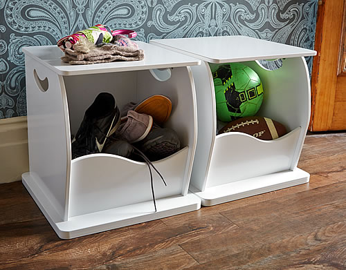 White wood shoe storage trunk