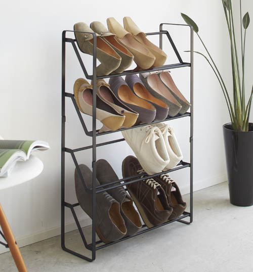 4 tier powder coated slimline steel shoe rack