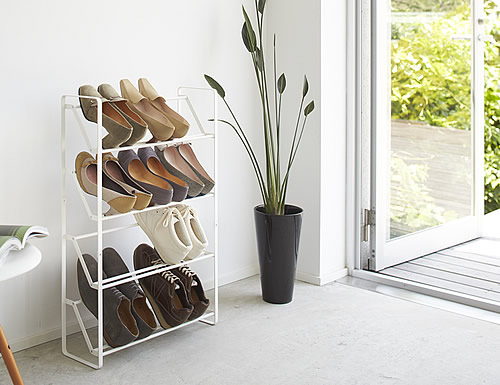 4 tier powder coated slimline steel shoe rack