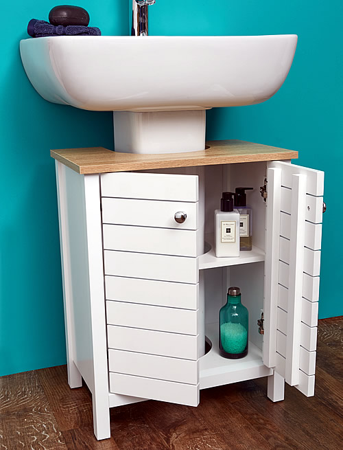 White Painted Wood Under Sink Storage Unit
