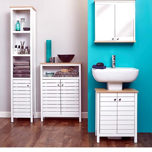 Slimline tallboy bathroom storage unit