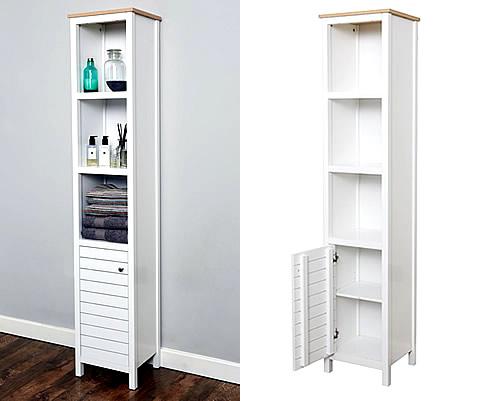 Store slimline bathroom storage unit new haven for Bathroom storage shelving units