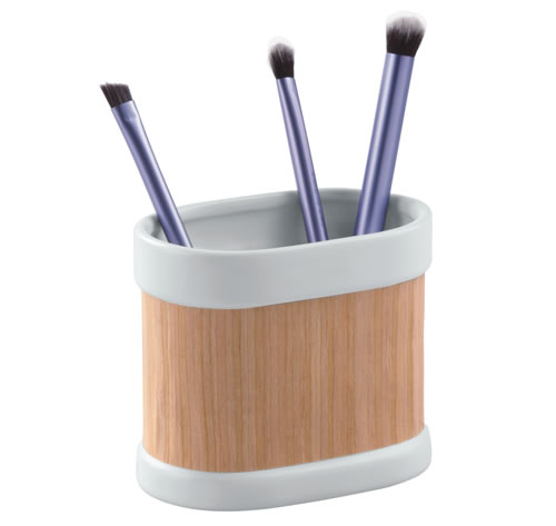 Ceramic and real wood brush holder