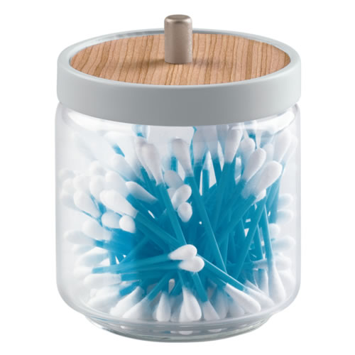 Glass and wood vanity storage canister