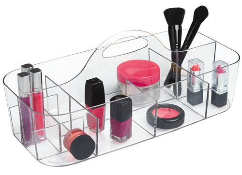 Clear plastic make-up storage caddy