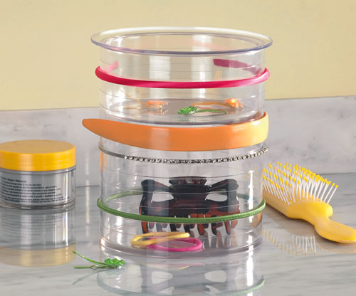 Clear plastic hair accessory organiser