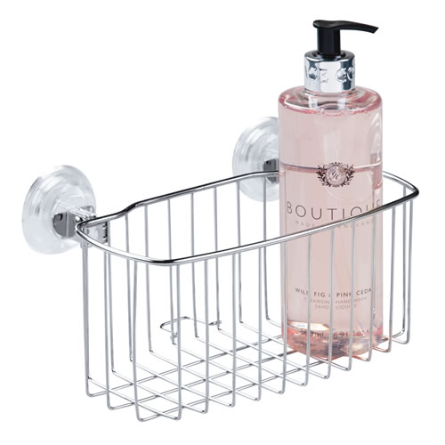 Stainless steel power lock suction shower caddy