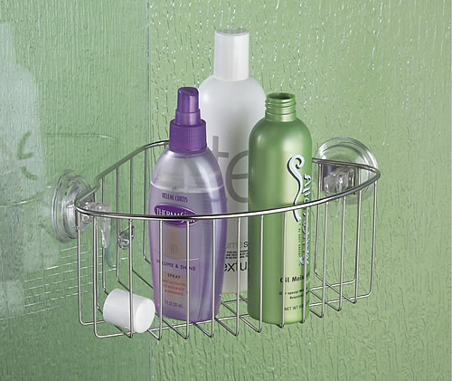 Stainless steel power lock suction corner shower caddy