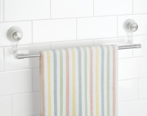 Power lock suction cup towel bar