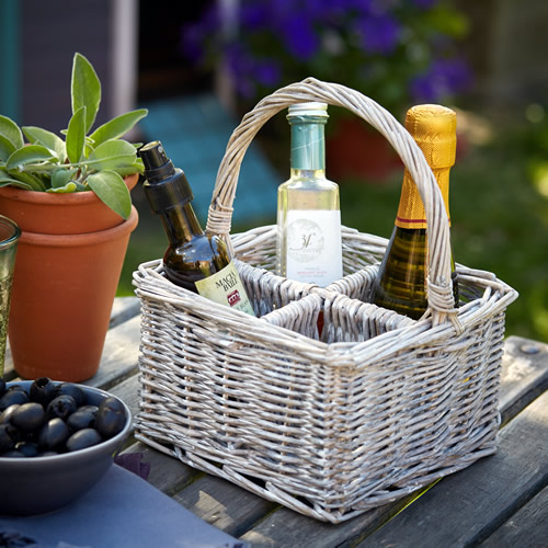 Wicker Cutlery & Condiment Organiser
