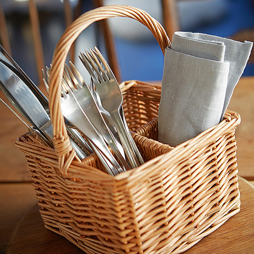 Wicker cutlery and condiment organsier