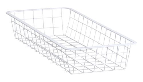 White wire elfa basket 25cm wide x 54cm deep