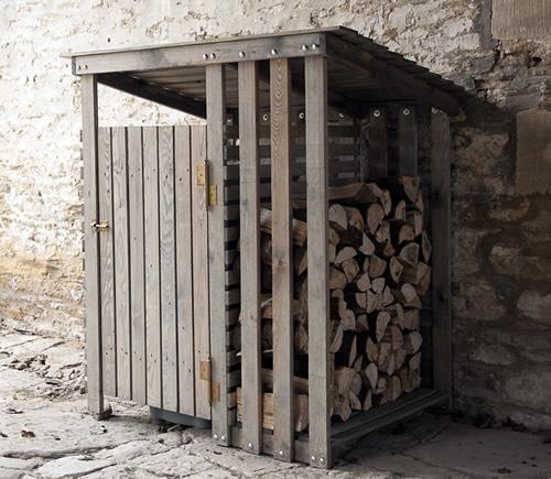 Fir wood wheelie bin and log store