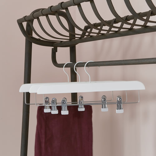 Set of 3 White Wood Hangers with Clips