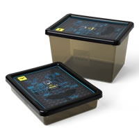 2 x LEGO Batman Themed Plastic Storage Boxes