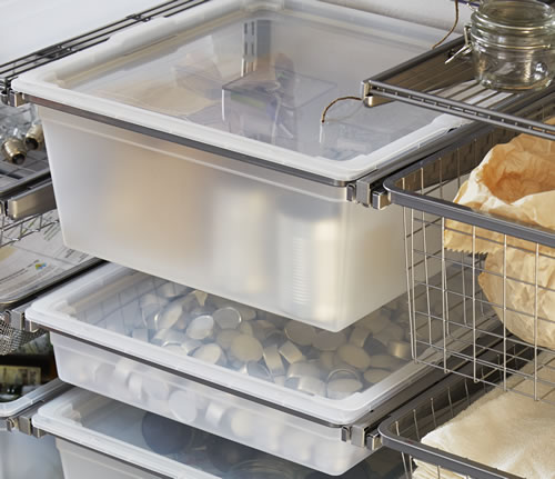 Translucent lid for 60cm wide solid elfa drawer