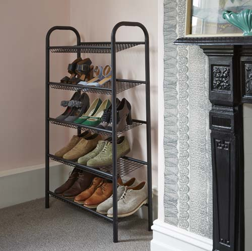 5 tier slimline metal shoe rack -